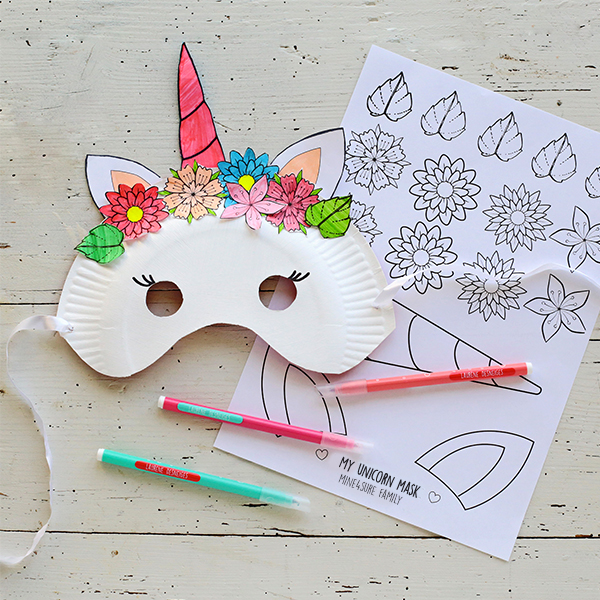 Unicorn and panda masks printables