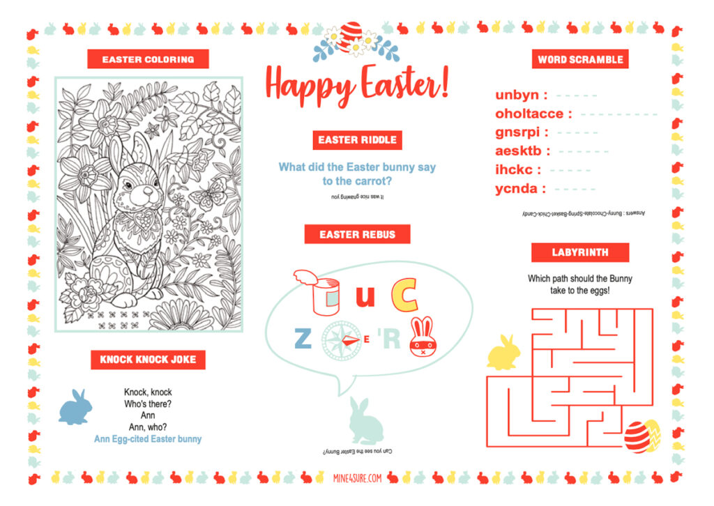 Easter kids placemat free printable